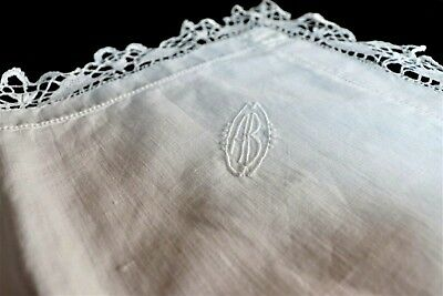 Antique French Hand Embroidered hand made lace Linen Sham Mono CB c. 1930