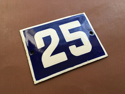 ANTIQUE VINTAGE FRENCH ENAMEL SIGN HOUSE NUMBER 25 DOOR GATE SIGN BLUE 1950's