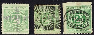 1890's London & South Western Railway 2d letter stamps (3) used variety cancels