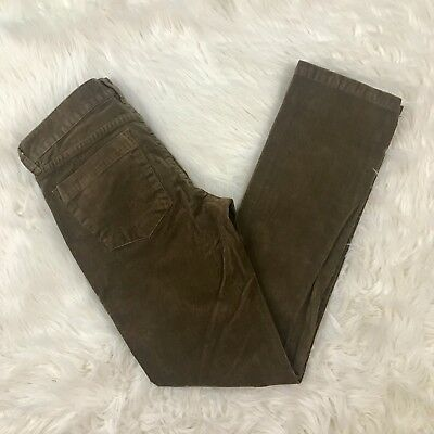Womens J CREW City Fit Brown Corduroy Pants Skinny Cords Sz 27 S Short