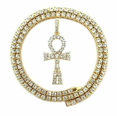 Bling Empire Mens Hip Hop Diamond Ankh Cross Pendant 40Ct Necklace In Yellow
