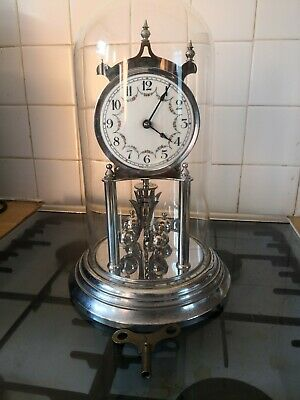 Large Anniversary 400 Day Torsion Mantel Clock glass dome