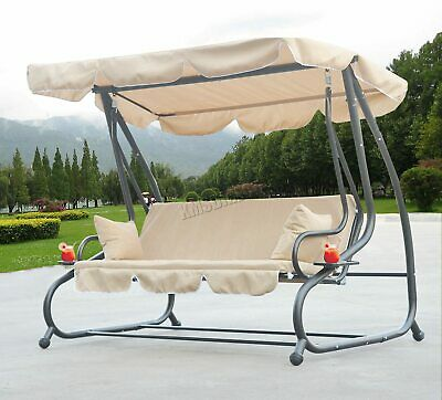 WestWood SC05 Garden Swing Hammock 3 Seater Chair Bench Bed Outdoor Beige New