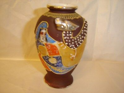 "Beautiful Satsuma Vase Taisho Period, Circa 1925 4"" Raised Dragon Gold Enameled"