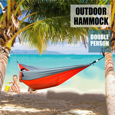 Portable Camping Hammock Parachute Nylon Cloth Sleeping Swing Hammock For Outdoors Backpacking Travel Beach Sleeping Bags Camp Sleeping Gear