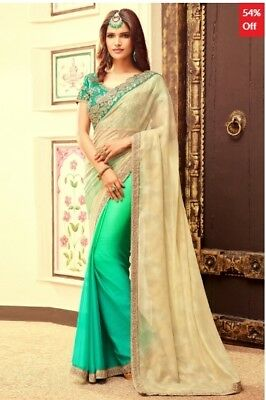 Beige and Green Georgette Saree with Chiffon Embroidered Blouse Piece SW105