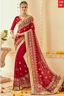 Red Georgette Embroidered Saree with Blouse Piece TR-SR-MGN-TSN1201