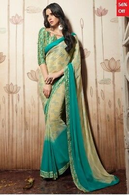 Cream and Turquoise Georgette Printed Saree with Blouse Piece TR-SR-HS-31034