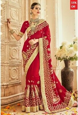 Red Georgette Embroidered Saree with Blouse Piece TR-SR-MGN-TSN1204