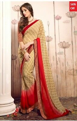 Beige and Red Georgette Printed Saree with Bhagalpuri Blouse Piece TR-SR-HS-3103