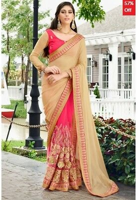 Pink Beige Georgette Embroidered Saree with Blouse Piece TR-SR-KP10-TSN87086