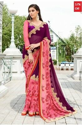 Pink Purple Georgette Embroidered Saree with Blouse Piece TR-SR-KP10-TSN87084