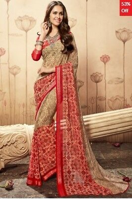 Beige and Red Georgette Printed Saree with printed Blouse Piece TSNBL1609