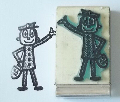 Vintage Carrier Beeswax Rubber Stamp Mounted Mailman Postal Letters