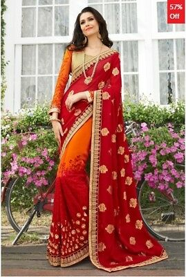 Red and Orange Georgette Embroidered Saree with Blouse Piece TR-SR-KP10-TSN87081