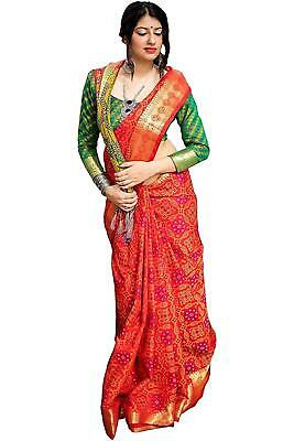 Women's Patola Silk Red With Contrast Green Blouse Saree PC1_3
