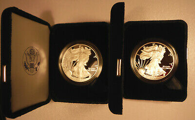 2004 W and 2005 W US American Eagle One Ounce Silver Proof with Box, Case & COA