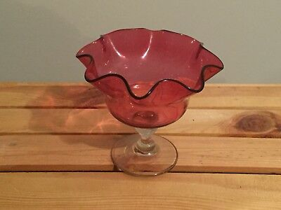 Vintage Pink Cranberry Glass Ruffled Edges Footed Compote Bowl Candy Dish 5""