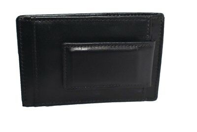 Men's Genuine Leather Card Case w/ Magnetic Money Clip-3 Card Slots & More!
