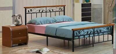 Black Metal and Wood Single 3ft,Double 4ft 6, King size 5ft HEAVY DUTY Bed Frame