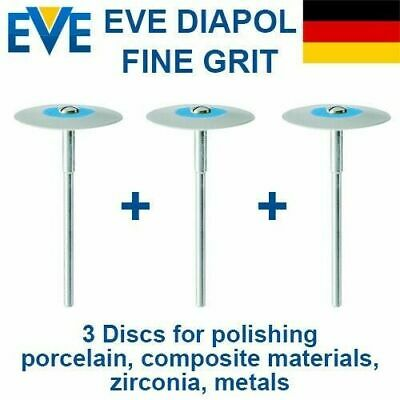 3x Dental Burs EVE Diapol Fine Grit Disc Polishing Porcelain Composite Zirconia