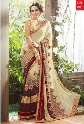 Cream and Brown Georgette Saree with Blouse Piece TR-SR-KP7-TSN87059