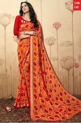 Orange Georgette Printed Saree with printed Blouse Piece TSNBL1601