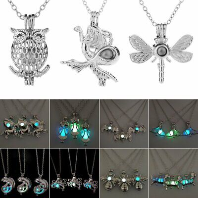 Glow In The Dark Luminous Hollow Owl Dragonfly Pendant Necklace Women Jewelry