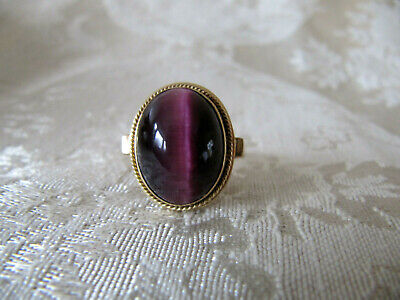 RARE Vintage Antique 14k Gold Purple Cat's Eye Stone Ladies Ring~size 7