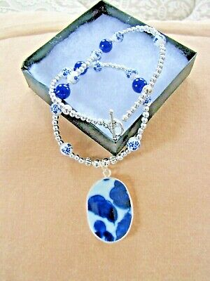 """Antique 19th Century Blue & White Chinese Pottery Chard on Bead Necklace, 21"""""""
