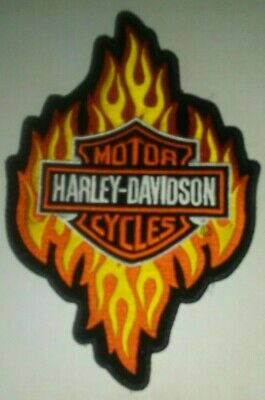 HARLEY DAVIDSON MOTORCYCLES Bar & Shield Flames Embroidered Patch 9'' x 6''