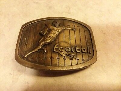 "Vintage 1979 Indiana Metal Craft ""Football"" Brass Belt Buckle"