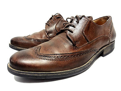 d1e02985883 STEVE MADDEN WING Tip Oxfords Distressed Brown Leather Men's Lace Up Shoes  9.5 D