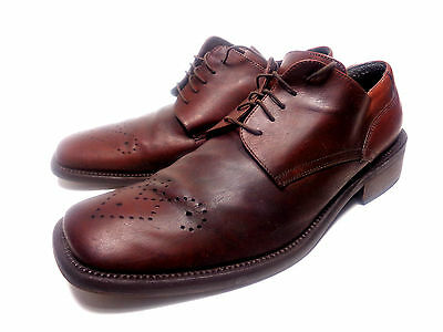 Kenneth Cole Collection Italy Brown Leather Oxford Brogued Mens Shoes 10.5 M