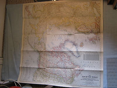 VINTAGE LARGE THE TOP OF THE WORLD WALL MAP National Geographic October 1949