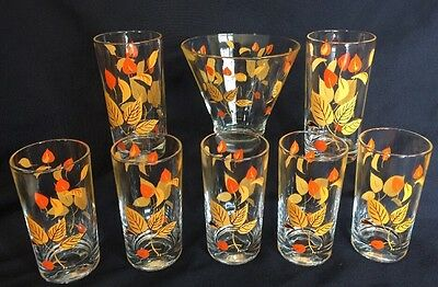 Vntg Mid Century Salem Glass Autumn Leaves Bar Set ICE BOWL 7 DRINKING GLASSES