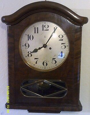 Antique Gustav Becker 8 Day Movement Chiming Pendulum Wall Clock Walnut Case