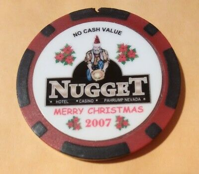 2007 Nugget Casino Pahrump, Nevada  Hard To Find Christmas No Cash Value Chip!