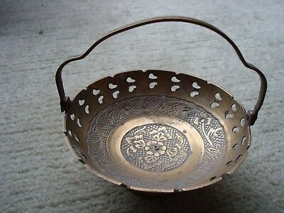 """Vintage Small Brass Bowl With Folding Handle And Pierced Floral Design 4"""" Across"""