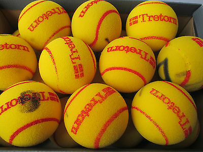 10 Used TRETORN Oversize Cut Foam Mini Tennis Balls - for Children/Practice etc