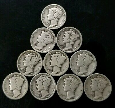 1920's Mercury Dimes Lot of 10 - 90% Silver - US Coins [SC8293]