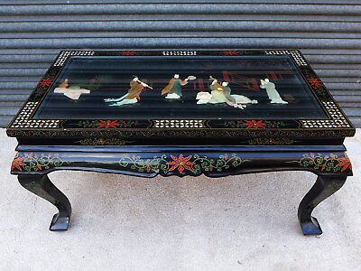 TISCH CHINA ÄLTER ANTIK ? FIGUREN 96cm BEISTELLTISCH black lacquer chinese table