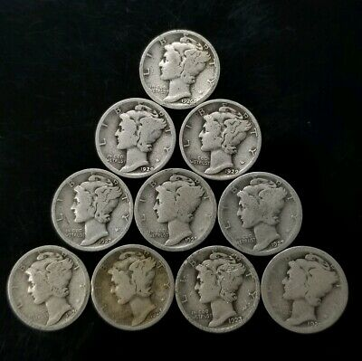 1920's Mercury Dimes Lot of 10 - 90% Silver - US Coins [SC8295]