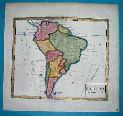 1818 Original Map South America Argentina Chile Patagonia Colombia Brazil Peru