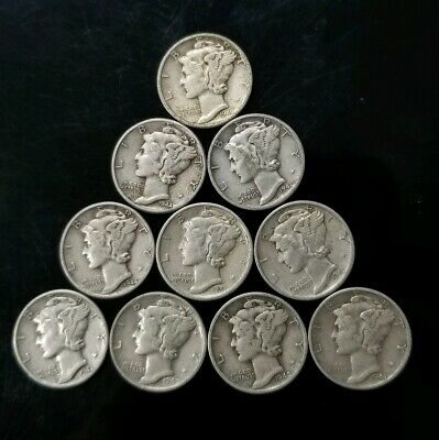 1940's Mercury Dimes Lot of 10 - 90% Silver - US Coins [SC8296]