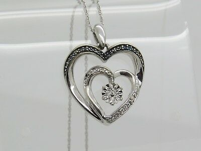 Sterling Silver .925 Blue White Round Diamond CHIP Double Heart Pendant Necklace