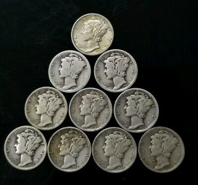 1930's Mercury Dimes Lot of 10 - 90% Silver - US Coins [SC8303]