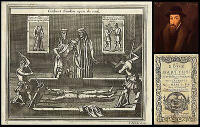 RARE! 1760 FOXE'S BOOK OF MARTYRS 'leaf' CUTBERT SIMSON UPON THE RACK - To Frame
