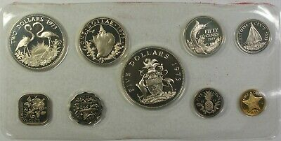 1973 Bahamas Mint Set 9 Coins Gem Proof in the Original Red Franklin Mint Box