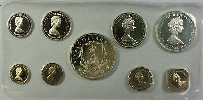 1971 Bahamas Mint Set 9 Coins Gem Proof in the Original Red Franklin Mint Box